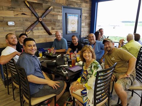 On The Upwind Flying Club members at Venice Municipal Airport for breakfast